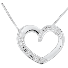 Collier coeur amoureux or blanc 9 carats et diamants