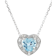 Collier Coeur Enchantement - topaze bleue - or blanc 9 carats