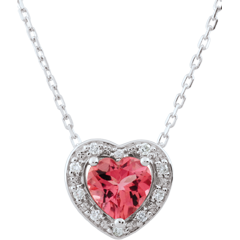 Collier Coeur Enchantement - topaze rose - or blanc 18 carats