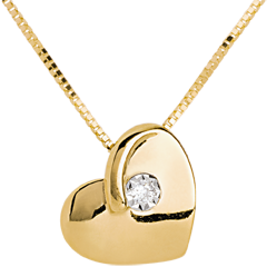 Collier coeur éperdu or jaune 18 carats diamants