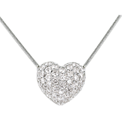 Collier coeur pavé or blanc - 0.85 carats - 50 diamants