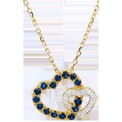 Collier Coeurs en duo - saphirs et diamants - or blanc et or jaune 9 carats