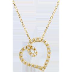 Collier Cuore Curva - Oro giallo - 9 carati - 28 Diamanti - 0.14 carati