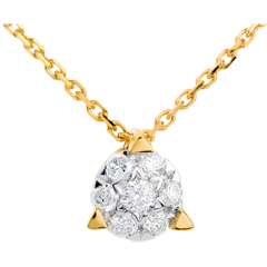Collier demi sphère pavée - 7 diamants - or jaune 18 carats