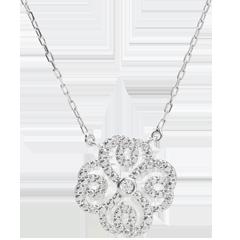 Collier Destinée- Trèfle Arabesque - or blanc 9 carats et diamants