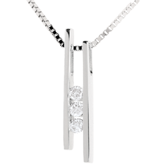 Collier Diapason Trilogie or blanc 18 carats - 3 diamants