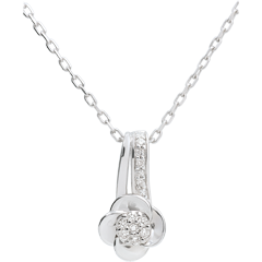 Collier Éclosion - or blanc 9 carats Pétales de Rose - 0.05 carat