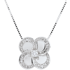 Collier Éclosion - Trèfle Blanc - or blanc 9 carats et diamants