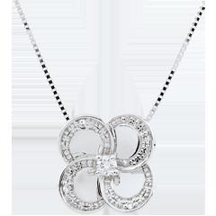 Collier Éclosion - Trèfle Blanc - or blanc 9 carats et diamants