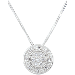 Collier Elsa - 15 diamants - or blanc 9 carats
