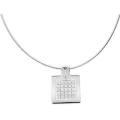 Collier empreinte or blanc 18 carats pavée - 0.45 carats - 25 diamants