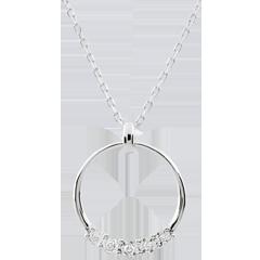 Collier Eternita - 5 diamants - or blanc 18 carats
