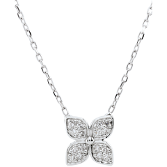 Collier Fleur d'éternité - 16 diamants - or blanc 9 carats