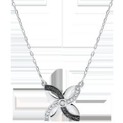 Collier Fraicheur - Lys d'Été - or blanc et diamants noirs