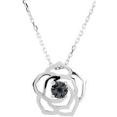Collier Fraicheur - Rose Absolue - or blanc et diamants noirs - 9 carats
