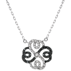 Collier Fraicheur - Trèfle Arabesque - or blanc 9 carats diamants blancs et diamants noirs
