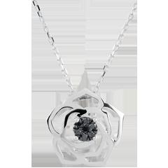 Collier Frische - Wahrhaftige Rose - Weißgold und schwarze Diamanten - 18 Karat