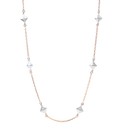 Collier Génèse - Diamants Bruts - or blanc et or rose 9 carats