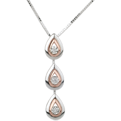 Collier Goutte de rosée variation - or blanc, or rose - 18 carats