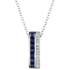 Collier - Himmelskörper - Sternzeichen - blaue Saphire und Diamanten - Weißgold 18 Karat