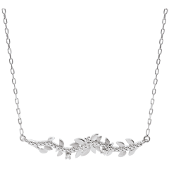 Collier Jardin Enchanté - Feuillage Royal - or blanc 9 carats et diamants