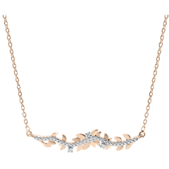 Collier Jardin Enchanté - Feuillage Royal - or rose et diamants - 9 carats