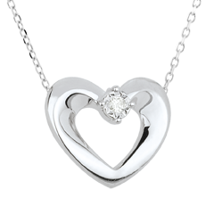 Collier joli coeur or blanc 18 carats et diamant