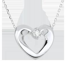 Collier joli coeur or blanc et diamant - 45 cm