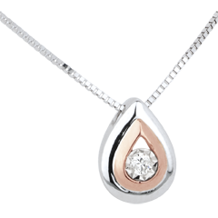 Collier une Larme d'Antilope - or blanc et or rose 18 carats et diamants