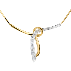 Collier Liane pavée - 3 diamants - or blanc et or jaune 18 carats