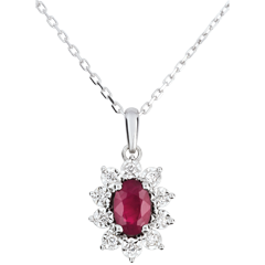 Collier Marguerite Illusion - rubis - or blanc 9 carats