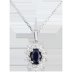 Collier Marguerite Illusion - saphir - or blanc 9 carats