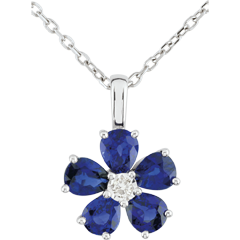 Collier Maria Flora - saphirs - or blanc 9 carats