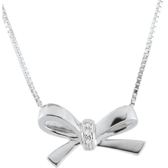 Collier Noeud Carlotta - or blanc 9 carats