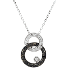 Collier or blanc 9 carats Clair Obscur - Duo de Lunes - diamants noirs et blancs
