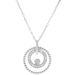 Collier or blanc 9 carats et diamants - Fleur de Sel - cercle - or blanc 9 carats