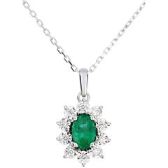 Collier or blanc 9 carats Marguerite Illusion - émeraude