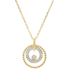Collier or jaune et diamants - Fleur de Sel - cercle - or jaune - 18 carats