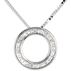 Collier pendule or blanc 18 carats pavée - 22 diamants