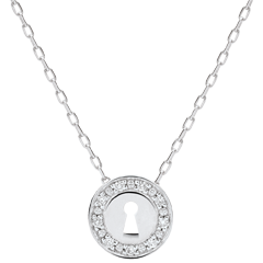 Collier Précieux Secret - or blanc 9 carats et diamants