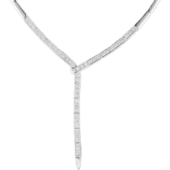 Collier queue du guépard - or blanc 18 carats