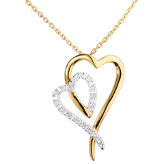 Collier Reflet - 17 diamants - or blanc et or jaune 18 carats