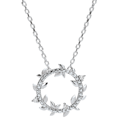 Collier rond Jardin Enchanté - Feuillage Royal - or blanc 18 carats et diamants