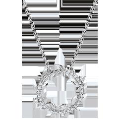 Collier rond Jardin Enchanté - Feuillage Royal - or blanc et diamants - 9 carats