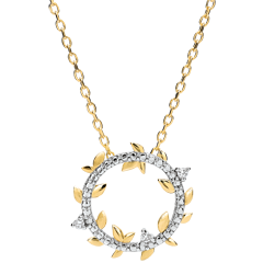Collier rond Jardin Enchanté - Feuillage Royal - or jaune et diamants - 9 carats