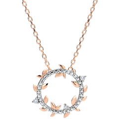 Collier rond Jardin Enchanté - Feuillage Royal - or rose et diamants - 9 carats