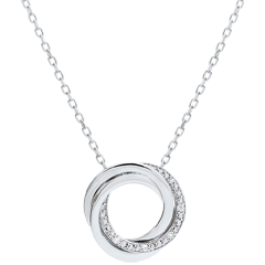 Collier Saturne - or blanc et diamants - 18 carats