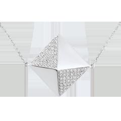 Collier Schöpfung - Sautoir- Kette Rohdiamanten Weißgold- 18 Karat