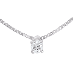 Collier solitaire or blanc - 0.11 carat