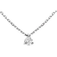 Collier solitaire or blanc - 0.16 carat